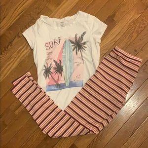 Girls pajamas size Large 10/12 t-shirt & leggings